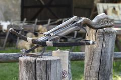 Crossbow ancient wooden close-up Kuvituskuvat