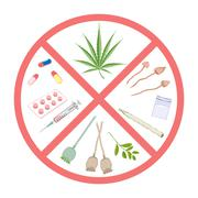 Forbidden narcotics. Logo and infographic warning. - stock illustration