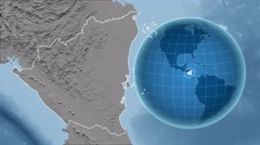 Nicaragua and Globe. Set of five animations plus matte Stock Footage