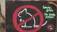 Quokkas not allowed sign on Rottnest Island Stock Footage