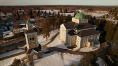 Aerial view of the Kerimäki wooden church Stock Footage