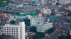 Dense Traffic on an Elevated Highway in Asia. Video 1080p Stock Footage