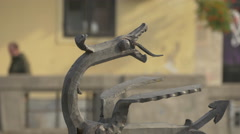 Close up view of a dragon sculpture in Ljubljana Stock Footage
