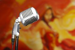 chrome retro microphone close-up, karaoke - stock photo