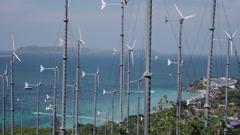 Stock Video Footage of Wind Generator Farm With Turbines