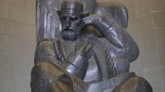 Njegos statue Lovcen Stock Footage