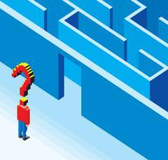 Entering the 3D Labyrinth Stock Illustration