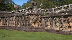 Ancient Stone Sculptures at Terrace of Elephants at Angkor Thom Stock Footage