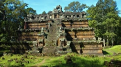 Temple Ruin with Pyramid Style Architecture in Angkor, Cambodia Stock Footage