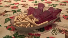 Mojama tuna dish on the table of chrismast holiday-Dan Stock Footage