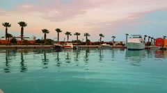 Hurghada, Egypt, 12 march 2016, port marina bay with yachts at sunset Stock Footage