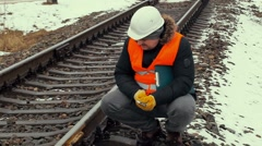 Railroad worker with documentation adjustable wrench Stock Footage