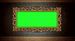 Golden vintage frame on brick wall. Green screen transition footage.4k video - stock footage