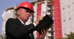 Building Industry Manager Take Notes Use Agenda Inspecting Construction Site Stock Footage