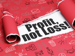 Stock Illustration of Business concept: black text Profit, Not Loss! under the piece of  torn paper