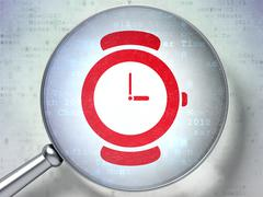 Time concept: Watch with optical glass on digital background - stock illustration