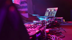 Hands Of Female Dj Playing The Set Performing At Party In Night Club Stock Footage