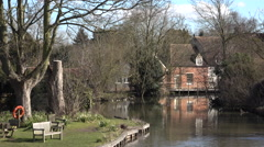 Flatford England river historic mill building park 4K Stock Footage