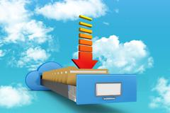 Cloud filing cabinet with arrow - stock illustration