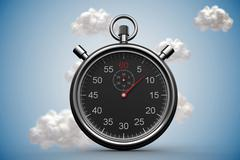 Stopwatch with clouds on blue background - stock illustration