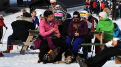 People relax at the ski resort in Hemsedal, Norway. Stock Footage