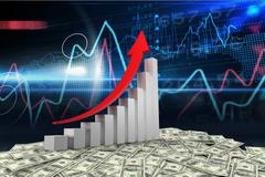 Graph with arrow and dollars on tech background - stock illustration