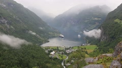 Stock Video Footage of Geiranger Fjord (Norway) Summer Top View.