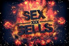 Burning flames and explosive sparks - SEX SELLS - stock illustration