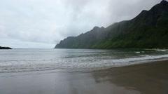 Summer Senja Coast Cloudy View. Stock Footage