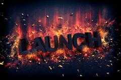 Burning flames and explosive sparks - LAUNCH Stock Illustration
