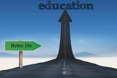 The word education against road turning into arrow - stock illustration