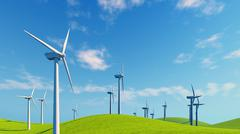 Close up of wind turbines on green hills - stock illustration