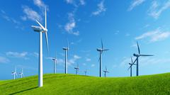 Windmills on green hills against blue sky - stock illustration