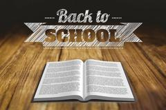 Back to school graphic with open book - stock illustration
