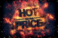 Burning flames and explosive sparks - HOT PRICE - stock illustration