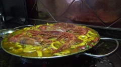 4k, Cooking seafood Paella, tipical delicious spanish food -Dan Stock Footage