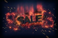 Burning flames and explosive sparks - SALE - stock illustration