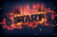 Burning flames and explosive sparks - START - stock illustration