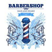 Barber Shop  Advertisement Flat Poster Stock Illustration