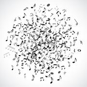 Abstract musical dot with black notes on white background - stock illustration