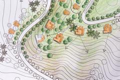 Landscape Architect Designing on site analysis plan Stock Illustration