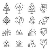 Abstract Forest Drawing Collection - stock illustration