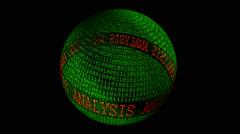 Analysis spinning globe Stock Footage