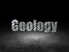 Studying concept: Geology in grunge dark room Stock Illustration