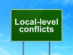 Politics concept: Local-level Conflicts on road sign background - stock illustration