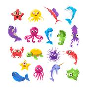 Marine Animals Collection - stock illustration