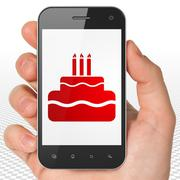Entertainment, concept: Hand Holding Smartphone with Cake on display - stock illustration