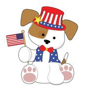 Cute Puppy Fourth of July - stock illustration