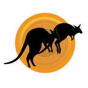Kangaroos Running Stock Illustration