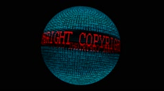 Copyright spinning globe - stock footage